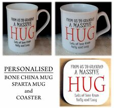 Personalised Bone China Mug, Personalised Nanny Grandad Mummy Mug and Coaster