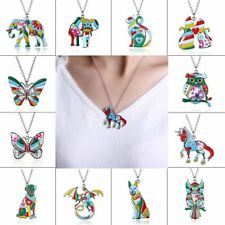 Fashion Women Colorful Animal Butterfly Cat Dog Horse Pendant Necklace Jewelry