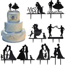 New Romantic Mr Mrs Heart Wedding Cake Topper Decor Bride Groom Black Silhouette