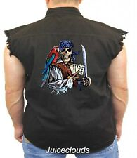 Pirate Sleeveless Denim Vest Dead Man's Hand Pirate Skull Parrot Tattoo Biker