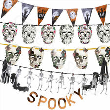 Halloween Bunting Party Garland Banner Hanging Decoration Skull Skeleton Spooky