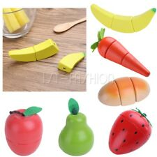 Kids Wooden Magnet Fruit Vegetable Food Pretend Role Play Cutting Toys Kitchen
