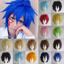 Reusable Cosplay Wig Anime Short Warped Wigs Full Wig Synthetic Hair Colorful cy