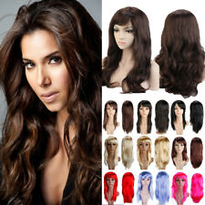 Womens Lady Long Hair Wig Curly Wavy Synthetic Anime Cosplay Party Full Wigs Vft
