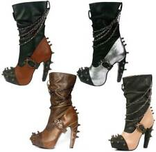 """Hades FALINE Black-Brown-Silver-Tan Two Tone Slouch Boots Spikes Chains 5"""" Heels"""