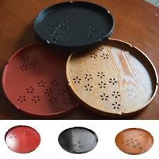 Round Wood Tray Meal Fruit Bread Snack Tea Serving Tray Bowl Dishes Platter