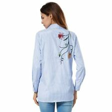 Flower Embroidery Fashion Collar Long Sleeve Casual Blouse For Women