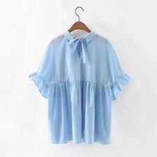 Vintage Blue Color Peter Pan Collar Polyester Fabric Blouse For Women