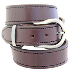 "1 1/2"" Dark Brown English Bridle Leather Belt Decorative Stitching Buckle Set"