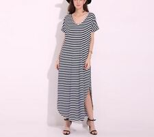 Women Plus Size Striped Split Casual Summer V-neck Short Sleeves Long Dress