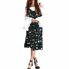 Floral Printed Ruffle Decorated V Collar Sleeveless Mid Calf Dress For Women