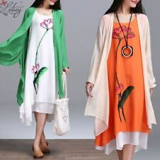 New Arrival Long-sleeved O-neck Cotton Linen Printed Dress For Women