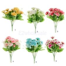 Artificial Rose Bouquet Silk Flower Leaf Wedding Party Home Decor 6 Colors