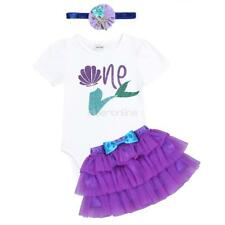 Baby Girls Infant  Tutu Skirt Mermaid Outfit Romper Headband Clothes Set Party
