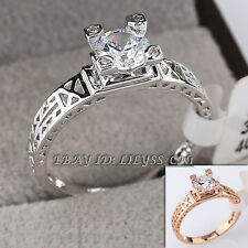 "B1-R685 Fashion Rhinestone ""Eiffel Tower"" Ring 18KGP CZ Crystal"