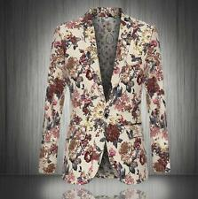 Mens Floral Printed Slim Fit Lapel Coats Punk Jackets One Button Suits Tops 2XL