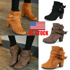US Women Buckle Ankle Boots Block Chunky Mid Heel Casual Winter Party Shoes Size