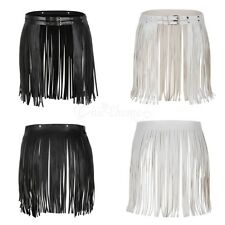 Black PU Leather Short Long Wrap Waist Fringe Tassel Skirt Belt Bikini Waistband