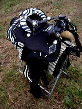 Western Cordura Trail Barrel Pleasure Horse SADDLE Bridle Tack Zebra 4946
