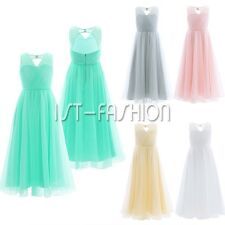 Pageant Flower Girl Birthday Party Wedding Bridesmaid Gown Chiffon Lace Dress