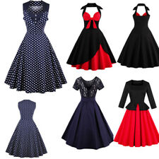 Plus Size Women 50's Dress Retro Vintage Christmas Evening Party Swing Dresses
