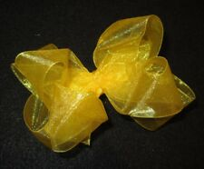 Sunny Yellow Sheer Organza Double Layered Fancy Hair Bow Girls Party Hairbows