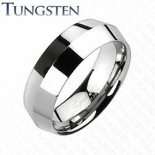 Center Point Faceted Tungsten Wedding Ring Size 5,6,7,8,9,10,11,12,13 (f80)