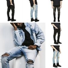 Fashion Men Skinny Fit Jeans Boy Ripped Denim Destroyed Hole Long Pants Trousers