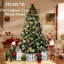 Christmas Xmas Tree Green Pre Lit LED Fibre Optic Festive Decorations Ornaments