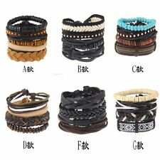 Unisex New Beads Love Friendship Infinity Leather Charm Bracelet Jewelry Gift