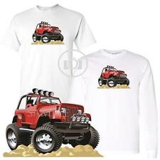 4X4 Classic Off Road Red Jeep Wrangler Graphic Car Art White T Shirt M-3X