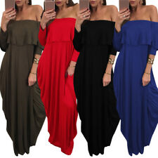 Fashion Women's Off Shoulder Casual Long Maxi Evening Party Cocktail Beach Dress