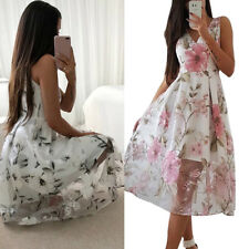 BOHO Women Sleeveless Floral Summer Long Maxi Casual Party Sundress Tulle Dress