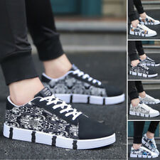 Hot! Women Men Striped Lace Up Sport Running Sneakers Trainers Shoes PU Leather