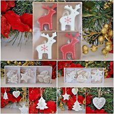 Hanging Christmas tree decorations reindeer tree heart star red and white santa