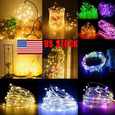 US Waterproof 5/10M 50/100LEDs Battery Operated Party Copper Wire String Light