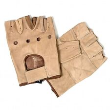 Brown Leather FINGERLESS Men's Gloves Motorcycle Biker Driving Riding ATV Work