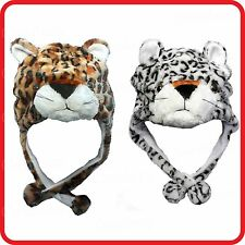 LEOPARD PANTHER JAGUAR ANIMAL CARTOON PLUSH FLUFFY HOODED HAT CAP BEANIE EARMUFF