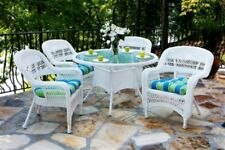 Outdoor Patio Furniture 5 Pc Wicker Dining Set Cushions Garden Deck Pool