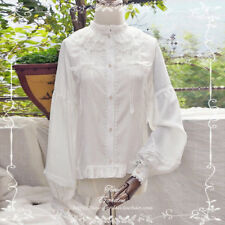 Sweet Lolita Vintage Palace Lace Princess Blouse Tops Bowknot Puff Sleeve White