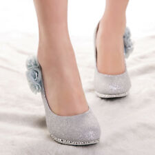 Glitter Women Evening Party Shoes Floral Wedding Bridal High Heels Casual Pumps