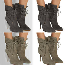 WOMEN HIGH HEEL STILETTO ANKLE BOOTS SUEDE LADIES BOOTIES LACE UP BANDAGE SHOES