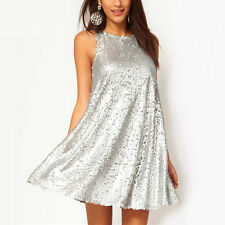 New Sexy Women's Silver Sequins Sleeveless Evening Cocktail Fashion Mini Dress
