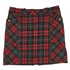 Eddie Bauer Women's Red Plaid Wool Skirt (Size 4 or 6) Pockets Above Knee Lined