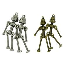 2PCS Antiqued Bronze/Silver Alloy Screw Robot Charms Pendant Finding 76x27mm