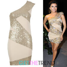 Womens Celeb Inspired Off Shoulder One Strap Gold Sequins Cocktail Party Dress