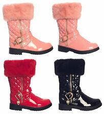 Kids Girls Fur Winter Block Glossy PU Low Boots Thigh High Heel Quilted UK1-13