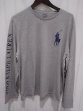 "Polo Ralph Lauren Gray/Blue ""POLO RALPH LAUREN"" Spellout Big Pony Shirt"