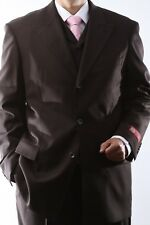 MENS SUPER 150S 3 BUTTON EXTRA FINE BROWN 3 PCS VESTED DRESS SUIT,SML-60513R-BRO