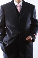 MENS SUPER 150S 3 BUTTON EXTRA FINE NAVY 3 PCS VESTED DRESS SUIT,SML-60513R-NAV